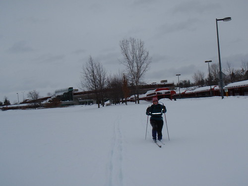 Becky sinking knee deep while skiing near Lincoln Fields