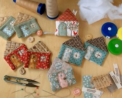 WIP - House Tape Measures (PatchworkPottery) Tags: house handmade sewing crafts country tape quilted patchwork measure
