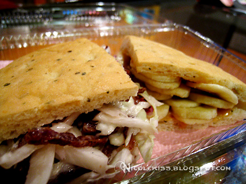 bbq and banana peanut butter focaccia sandwich