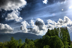 Green and blue (Banana Muffin (Antonio)) Tags: trees sky italy sun green sunshine clouds landscape hdr abruzzo supershot nikond80 envyofflickr