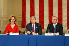 China Earthquake: Bonnie McElveen Hunter, President Bush, and John Castellani