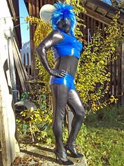 shiny black lycra zentai catsuit, black/blue 12cm high heels, my blue set & blue wig # 5 (trapez) Tags: blue shiny vinyl rubber latex tight lycra catsuit pvc lack zentai