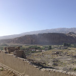 The Bamyan buddhas in the distance