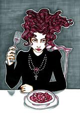 Dining Goth (miss_skittlekitty) Tags: pink black hair goth evil lolita dining egl sophisticated aristocrat