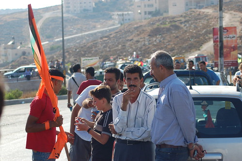 Jamal, from the Ni'lin Committee, waiting to get past the PA roadblock in Ramallah