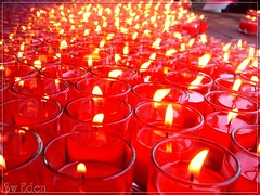 Red candles and carbondioxide (The SW Eden ( )) Tags: light red thailand temple fire candle buddhism burn thai sw stick eden carbon joss dioxide