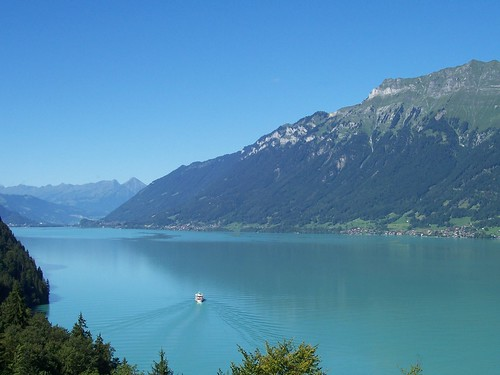 View of the Brienzersee from the terrace of the Grandhotel Giessbach