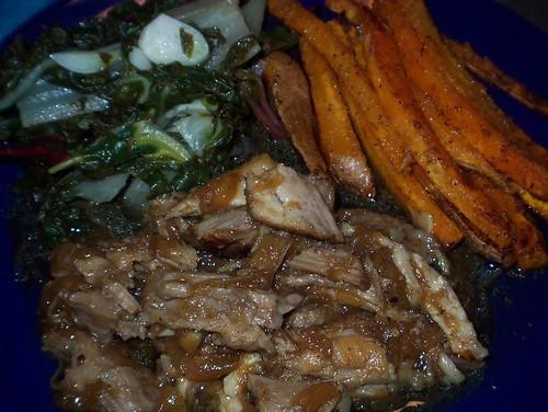 cider pork shoulder chard sweet potato fries