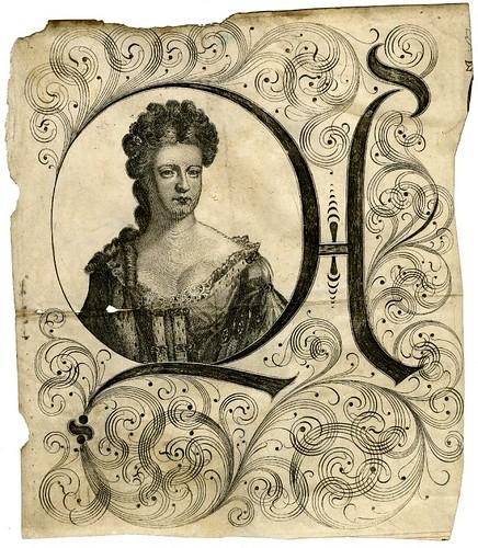 31-Inicial con portarretrato de la reina Ana tomado de un documento legal 1704-1714