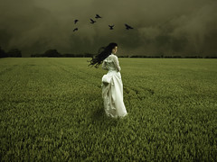 Jane Crow (sole) Tags: sky woman white green field mystery clouds dark hair mujer corn dress wind eerie brunette weddingdress vrouw solea 100faves 200faves mywinners platinumheartawards