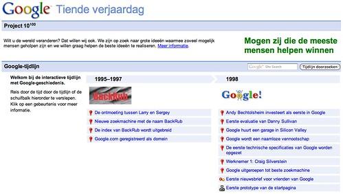 Google tijdlijn 10 jaar