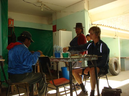 Brekkie with the locals. Vitichy, south of Potosi, Bolivia.