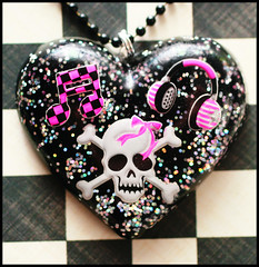:I Love It Loud: (stOOpidgErL) Tags: music black love glitter silver skull diy necklace heart handmade goth craft jewelry plastic kawaii headphones resin pendant stoopidgerl