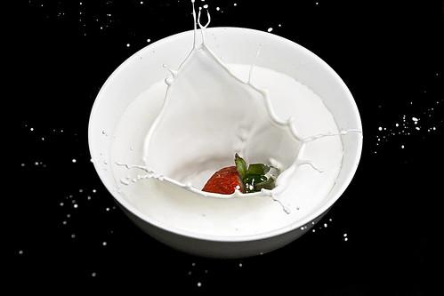 Thumb Zambullida de una frutilla en leche