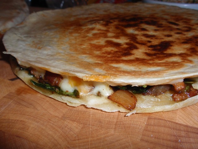 swiss chard and pork quesadilla