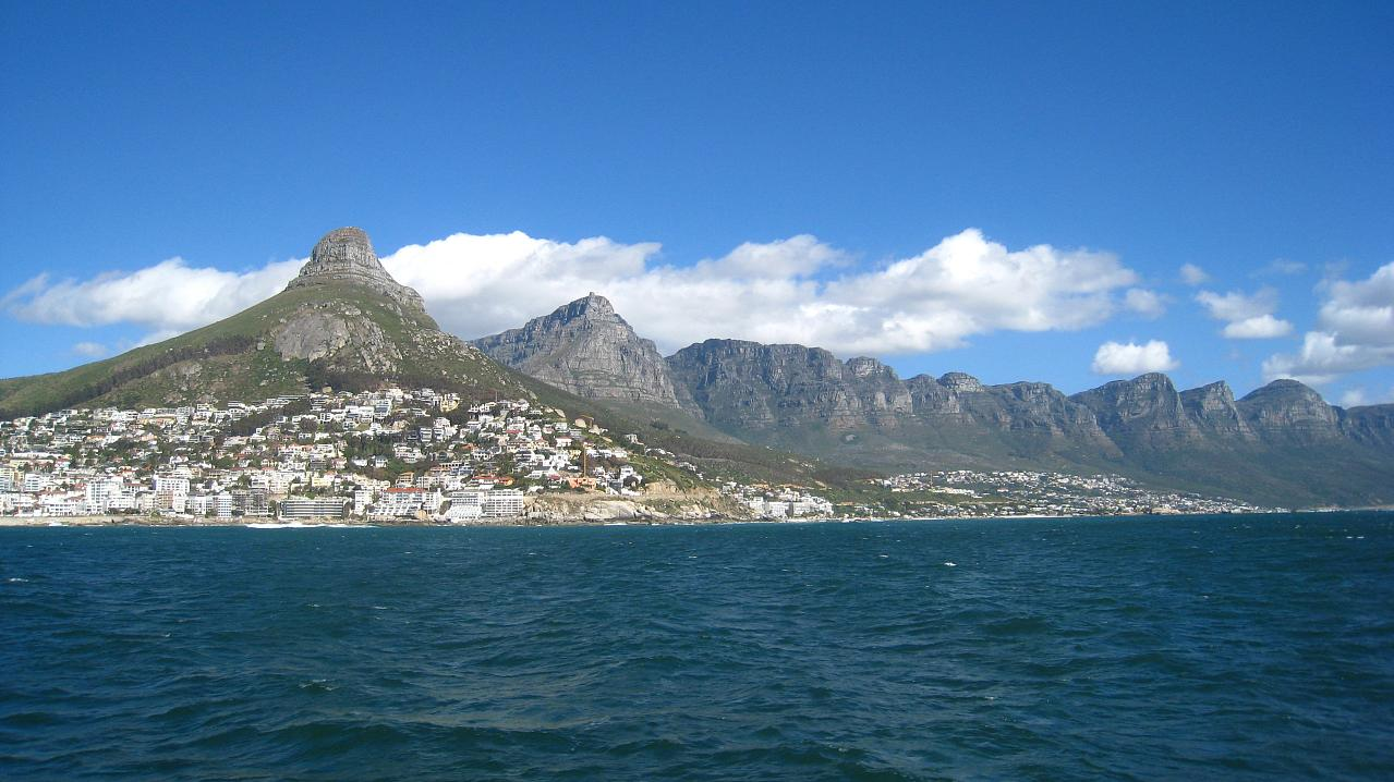 From left: Lion's Head, Table Mountain, and the 12 Apostles