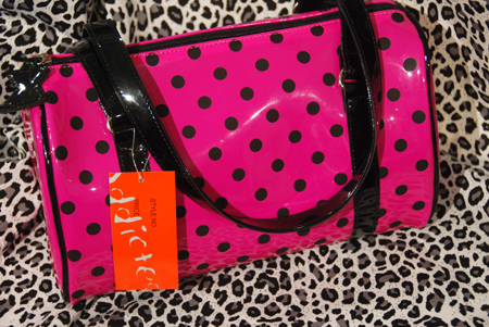 pink black dots handbag