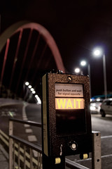 WAIT (Sony_A100_A700) Tags: road bridge light river scotland riverclyde traffic path glasgow sony arc pedestrian cable structure explore alpha 700 2008 buslane clydeside twoway a700 sonyalpha squintybridge clydearc tamronspaf2875mmf28xrdi 7daysofshooting sonyalpha700 freestylefriday week17lightatnight year2week17day6 highestposition346onsaturdaynovember152008