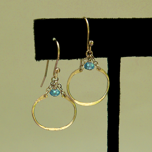 Hammered 14K Gold Filled Oval and Blue Topaz Earrings