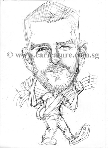 Celebrity caricatures - Justin Timberlake pencil sketch watermark