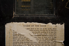 Story of the Door (daveknapik) Tags: uk england london paper words doors pages text soho ripped books story hyde stevenson posted pasted torn stories jeckyll jekyll robertlouisstevenson drjekyllandmrhyde