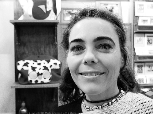 Portrait with Smile and Eyebrows in a Store