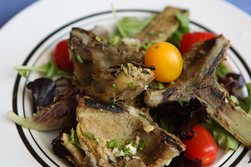 Grilled Long Stem Artichokes with Lemon, Garlic, and Herbs