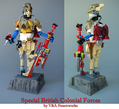 Special British Colonial Forces by V&A Steamworks (V&A Steamworks) Tags: soldier iron gun lego va laser steamworks builder lazer jetpack steampunk moc