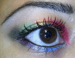 RAINBOW EYES (beautyandmakeupadvice) Tags: blue red green beauty yellow rainbow eyes mac purple turquoise makeup m barry advice bourjois rimmel lilack cosmects