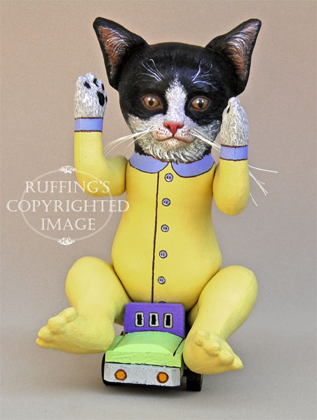 Ziggy the Tuxedo Kitten, Original One-of-a-kind Folk Art Doll by Elizabeth Ruffing