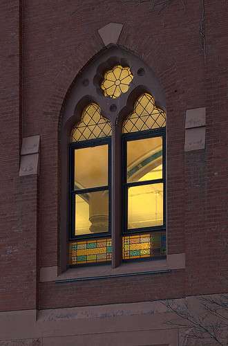 Saint Louis University, in Saint Louis, Missouri, USA - window at dusk