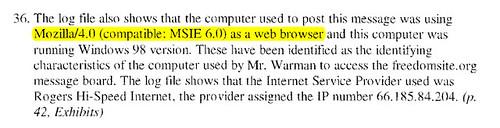 Klatt affidavit ¶36 Browser