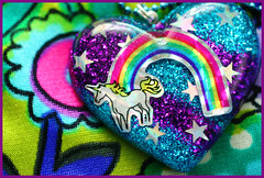 Charlie The Unicorn (stOOpidgErL) Tags: blue glitter silver stars diy necklace rainbow handmade rad craft jewelry retro plastic 80s resin unicorn 1980s pendant stoopidgerl vintagesticker
