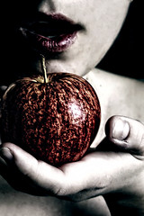 Poisoned Lie (Aphotic Aura) Tags: uk light red portrait england woman selfportrait slr me apple fruit composition digital canon myself eos idea colours dof hand creative depth shodow 400d shortdepth