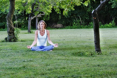 Day 130: Peace under the peach tree (lkgilbert) Tags: yoga self dusk bodylanguage orchard mediation 365days