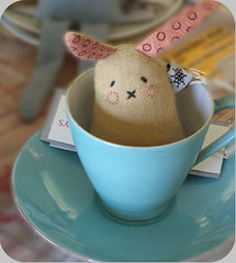 Gingerbread Biscuit Bunny in blue tea cup (florenceforrest) Tags: blue cute rabbit bunny cup toy ginger soft tea designer handmade plush softie flyingstartoys 1simplyawwwsomeplushanimal