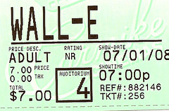 Wall•E ticket stub