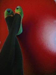 green on red (miss sundress) Tags: red green shoes pumps tights dolly