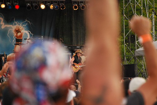 Ted Nugent in concert at Ribfest -- fists in the air