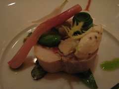 Daniel: Rabbit porchetta with spring vegetables (closer up)