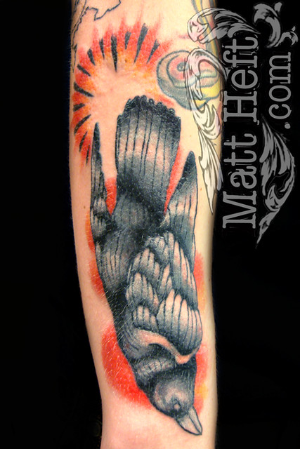 Traditional Dead Crow Tattoo. Custom Tattoos by Matt Heft www.MattHeft.com