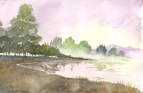 Watercolor Landscape - Foggy Lake 2