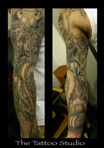 sleeve tattoo photos.  Gods, Godesses, Serphants, Valkyries and Vikings Sleeve Tattoo