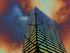 Fire in the sky (DetroitDerek Photography ( ALL RIGHTS RESERVED )) Tags: county windows sky usa building up photoshop fire gold oakland intense highway view michigan august elements northwestern 2008 aon 248 solarize southfield modify 696 itstheendoftheworldasweknowitandifeelfine thedonkeylovesrainbowcoloredskiesthatalmostlooklikeaufolandingonabuilding nothisisnotascenefromthemoviediehard ihavenoideawhattoputinthesetagsmostofthetime
