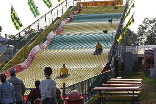 Employees test the giant slide