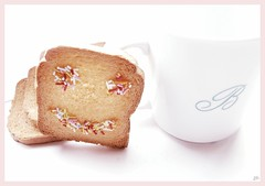 Sweet morning (B@rbar@ (Barbara Palmisano)) Tags: morning pink stilllife food white cup colors smile breakfast sweet rosa dolce sorriso onwhite colori bianco cibo colazione tazza mattino fette codette mywinners goldenmasterpiece