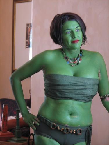 Grüne Orion Sklavin nackt, Kopf trat beim Sex auf