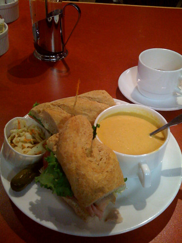 Cubano sandwich and pumpkin/coconut soup