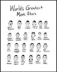 World's Greatest Movie Stars, 2008 (Done by Mr. Red) Tags: cruise art paper movie star drawing contemporary smith penn jolie brando pitt gouache damon mcqueen eastwood deniro affleck pacino hanks streep cheadle