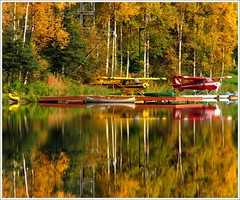 Colors, Fire Lake (Kayak49) Tags: autumn red orange lake reflection green fall yellow alaska kayak airplanes canoe floatplanes eagleriveralaska firelake